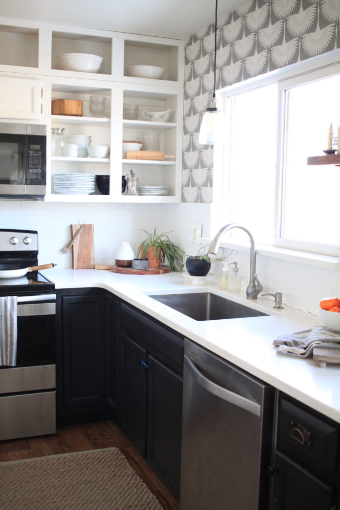 Simple Kitchen Refresh with Temporary Wallpaper,